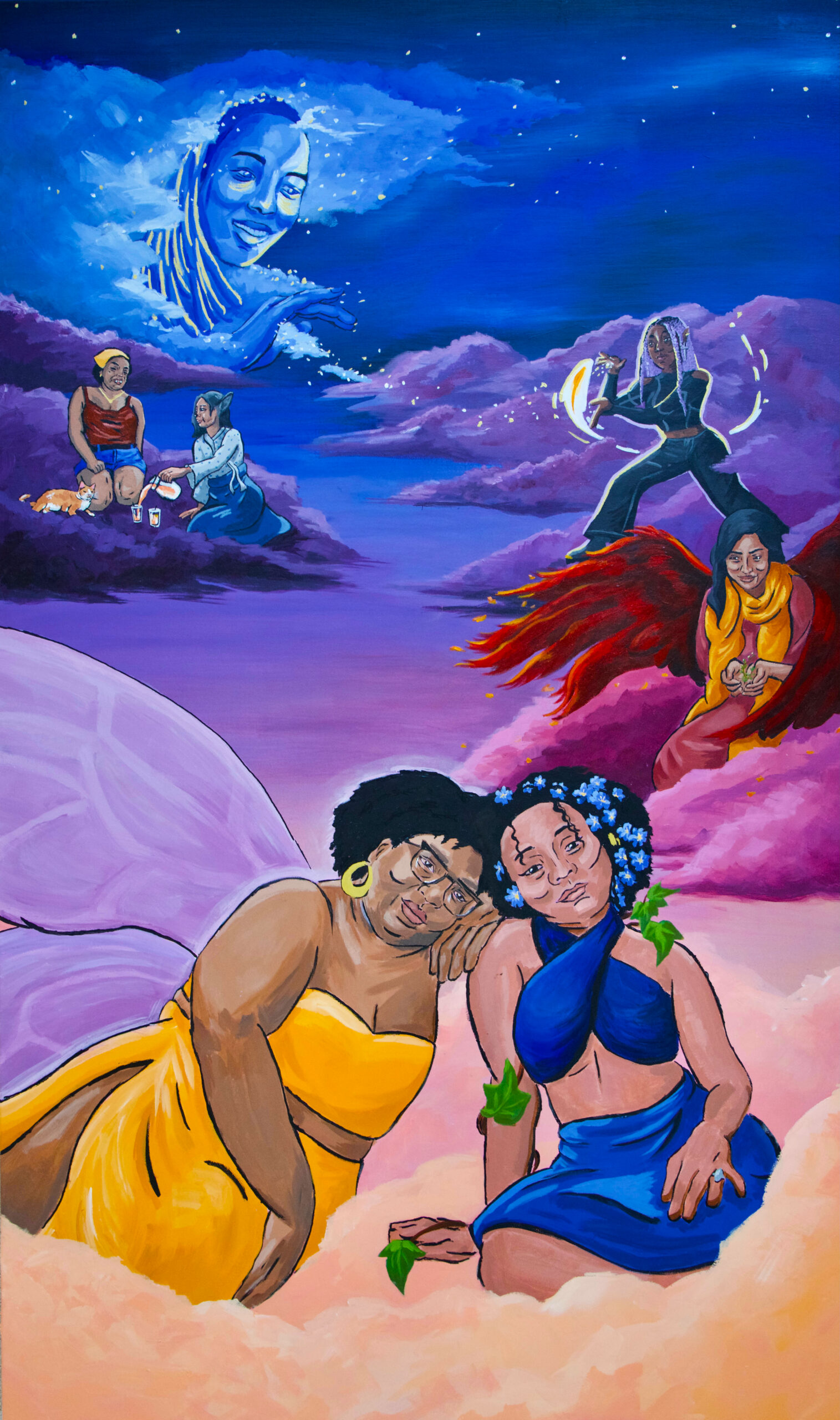 Dr. Laurian Bowles, Adriel Vazquez Martinez, Olivia Ng, Jacina Hollins-Borges, Dr. Sarah Waheed, Jaelyn Taylor, and Lorena James portrayed as fantastical beings in a landscape of skies and clouds.